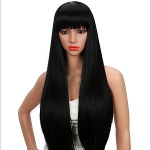28 inch Women silky long black wig with bangs